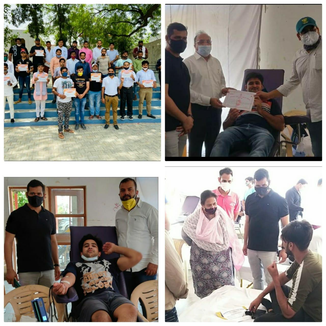 भाजपा युवा मोर्चा के आग्रह पर 580लोगो ने रक्तदान देकर पेश की मिसाल